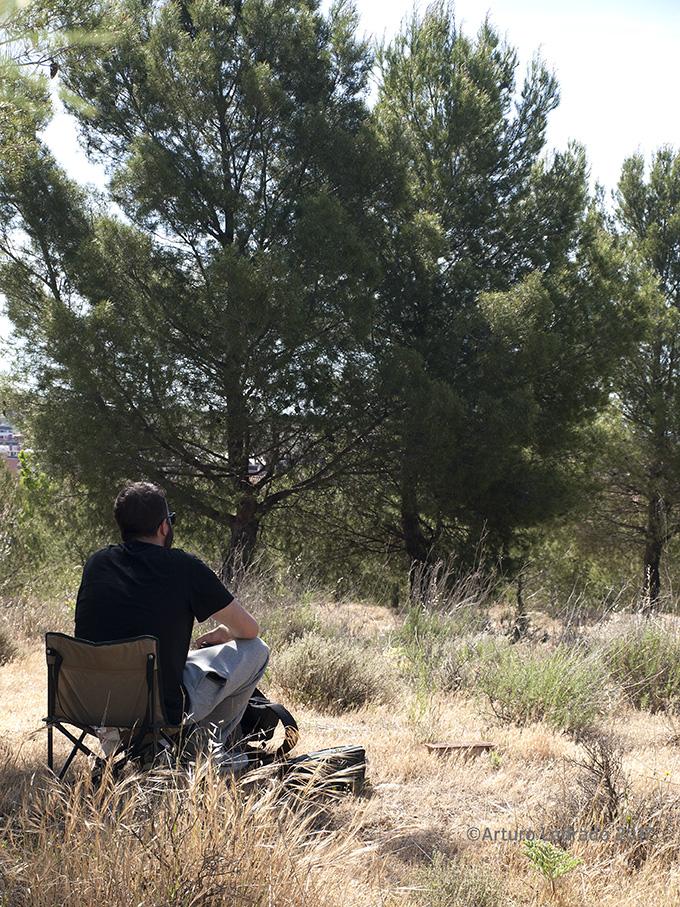 Jornada de apuntes al aire libre en el parque forestal Mazalmadrit. Rivas-Vaciamadrid. Actividad del taller de apuntes del natural de Prima Littera.