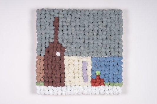 Castelvetrano (2018), de Joe Zucker. Arpillera, algodón y acrílico. Galería Thomas Brambilla.